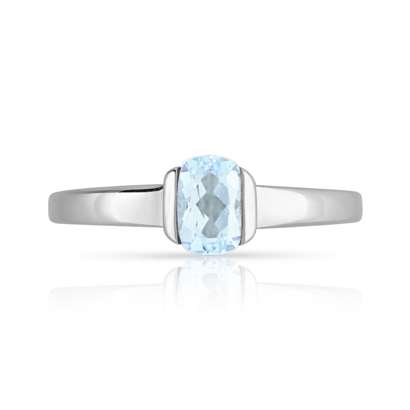 Bague or 375 blanc aigue-marine - vue V3