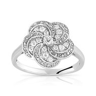 Bague or 375 blanc topaze blanche