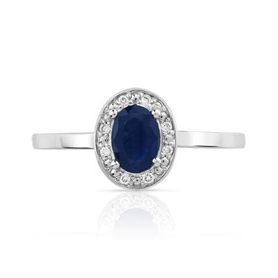 Assez Bague or 375 blanc saphir et diamant - Femme - Bague | MATY ZZ46