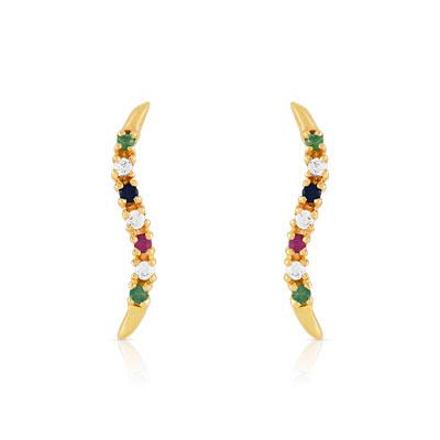 Boucles d'oreilles or 375 jaune pierre précieuse zirconia