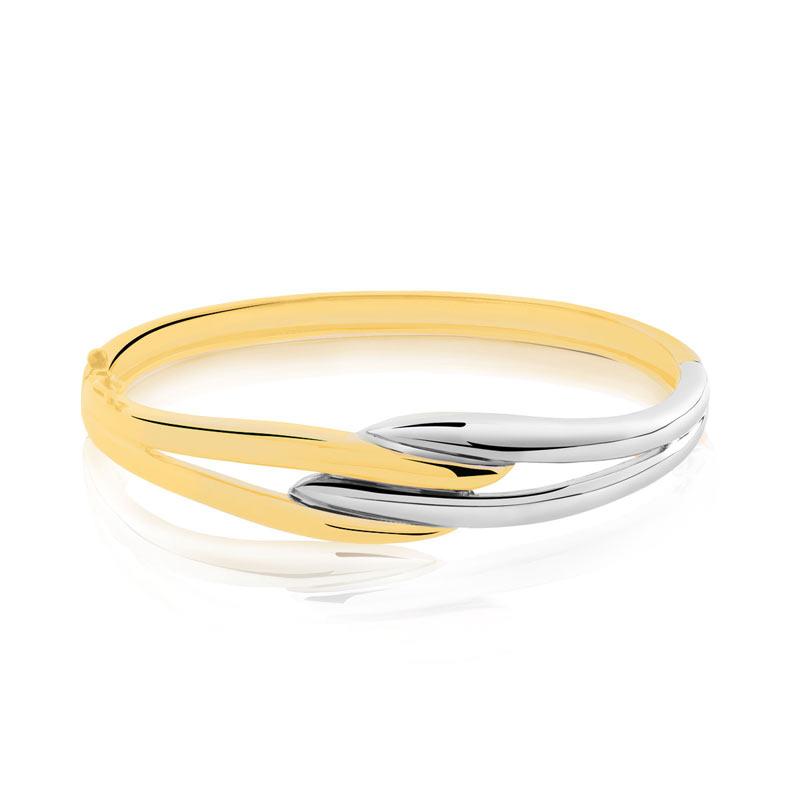 bracelet jonc plaqu or 2 tons femme bracelet rigide. Black Bedroom Furniture Sets. Home Design Ideas