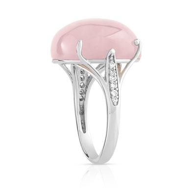 Bague argent quartz rose femme