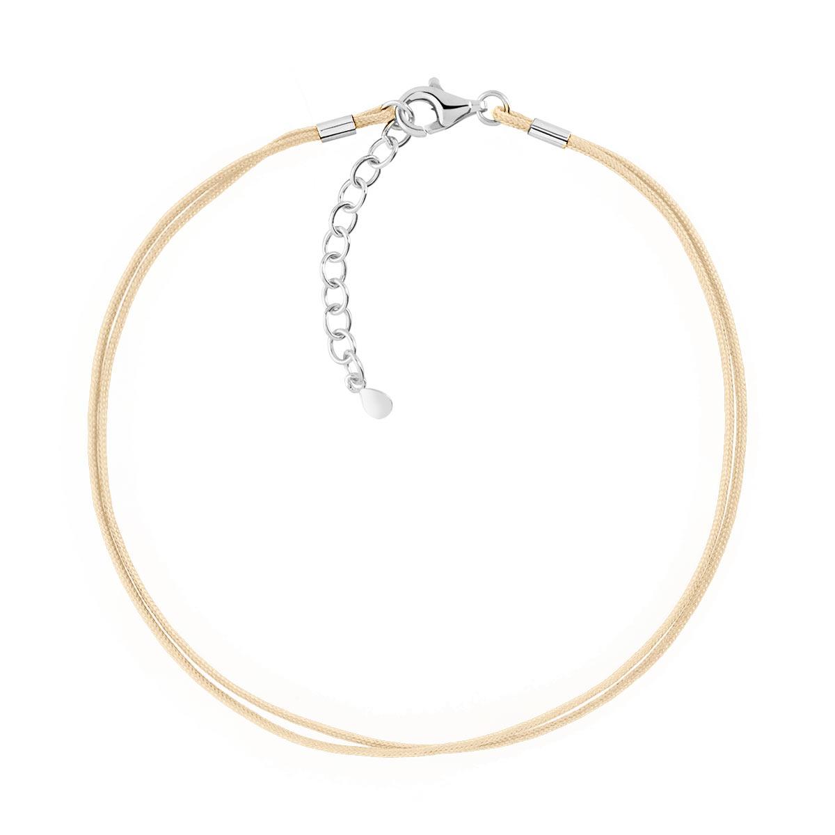 95edc9c8076bb Bracelet argent 925 cordon coton sable - Femme - Bracelet souple | MATY