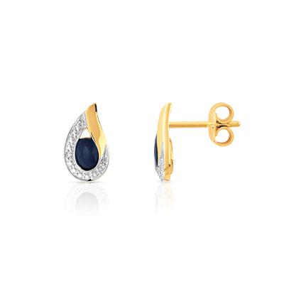 boucles d 39 oreilles or 750 2 tons saphir et diamant femme. Black Bedroom Furniture Sets. Home Design Ideas