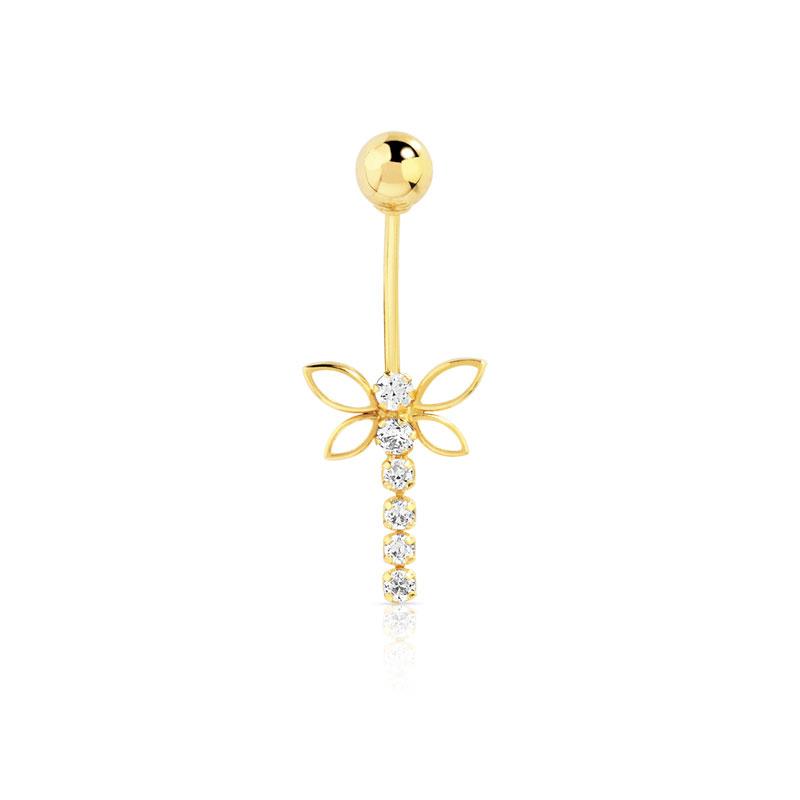 piercing de nombril or 750 jaune zirconia femme divers piercing chaine de cheville maty. Black Bedroom Furniture Sets. Home Design Ideas
