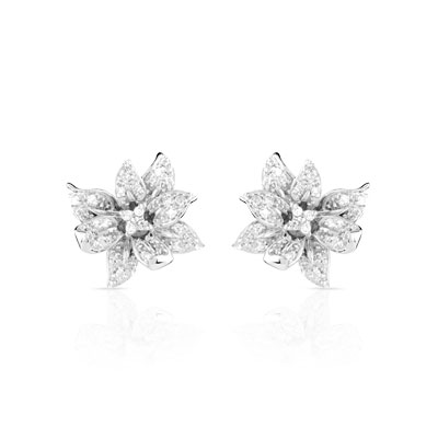 boucles d oreilles or 750 blanc diamant femme clous d. Black Bedroom Furniture Sets. Home Design Ideas