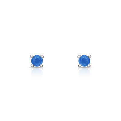 Très Boucles d'oreilles or 750 blanc saphir - Femme - Clous d'oreilles  ZE87