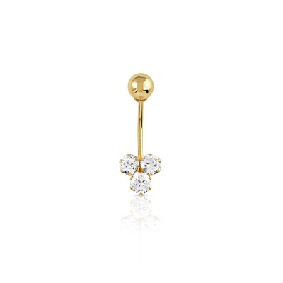 Piercing de nombril or 750 jaune zirconia - vue 1