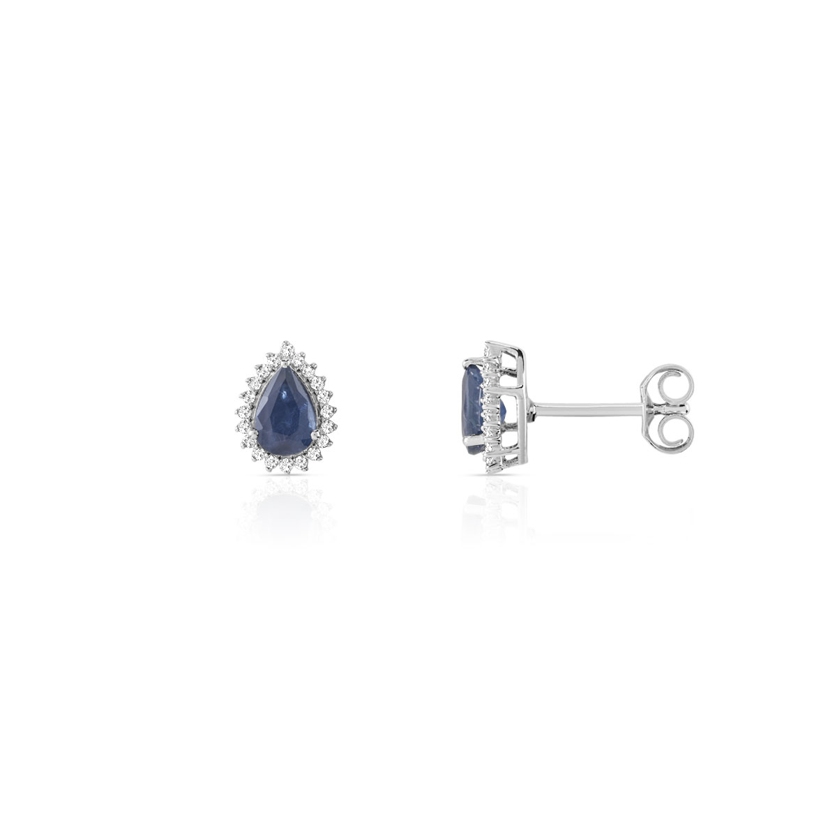 Boucles d'oreilles or blanc saphirs diamants - vue V1