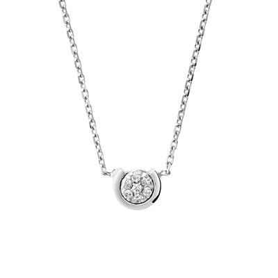 Collier or 750 blanc diamant - vue 1