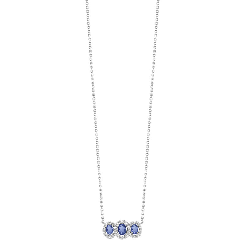 Collier or 750 blanc saphir et diamant - vue V1