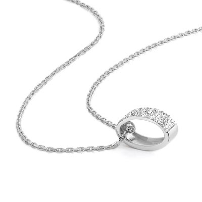 Collier or 750 blanc diamant - vue VD1