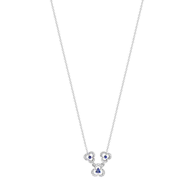 Collier or 750 blanc saphir et diamant - vue 1