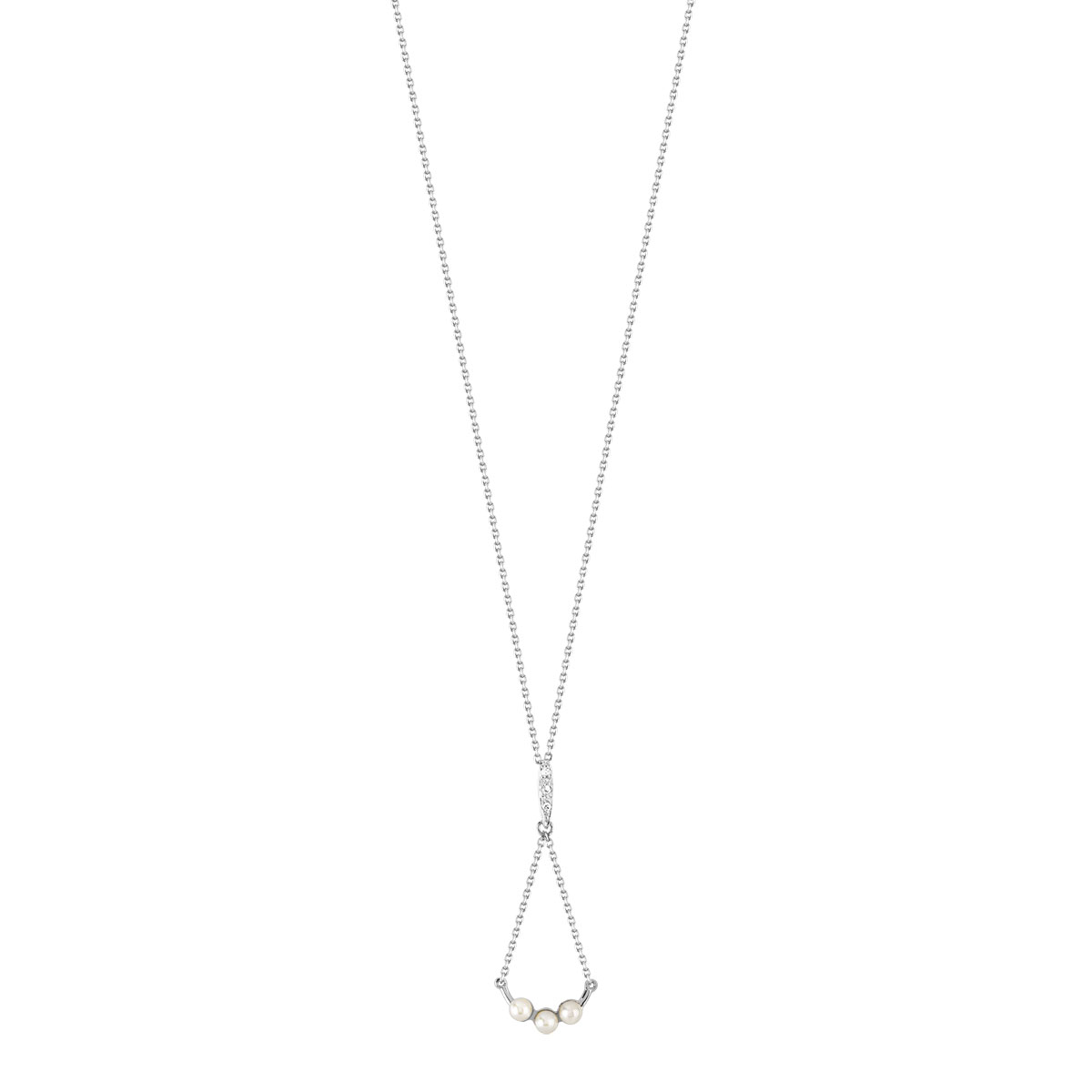 Collier or 375 blanc perle de culture et diamant - vue V1