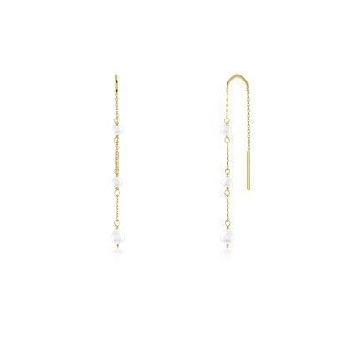 Boucles d'oreilles or 375 jaune perle de culture de chine - vue V1