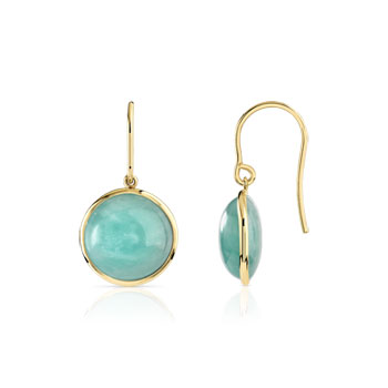 Boucles d'oreilles or 375 jaune amazonite