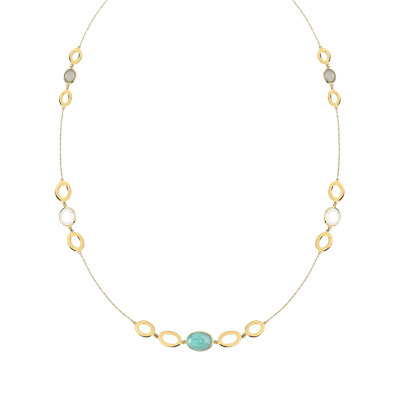 Collier or 375 jaune amazonite et pierre de lune - vue V1