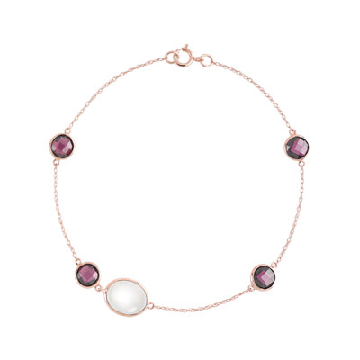 Bracelet or 375 rose pierre fine - vue V1