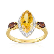 Bague or 375 2 tons citrine et grenat et diamant