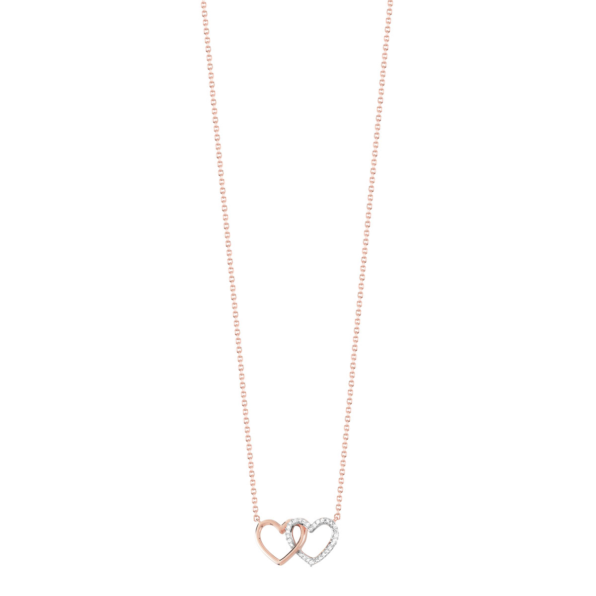 Collier or 375 rose diamant - vue 1