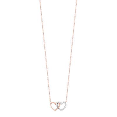 Collier or 375 rose diamant - vue V1