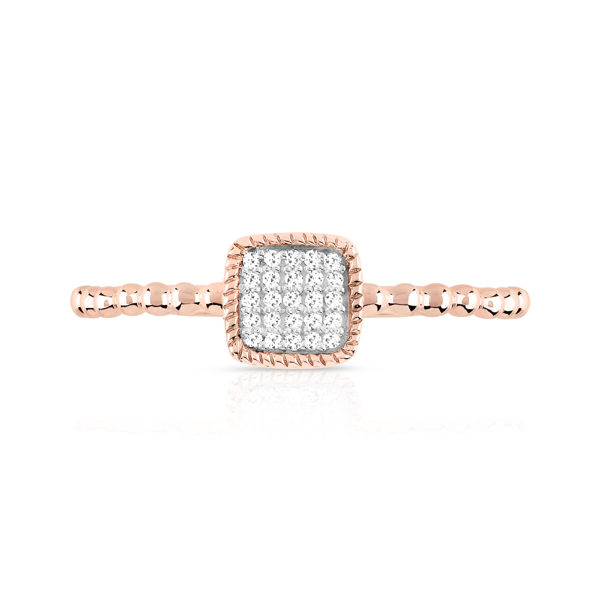 Bague or 375 rose diamant - vue V3