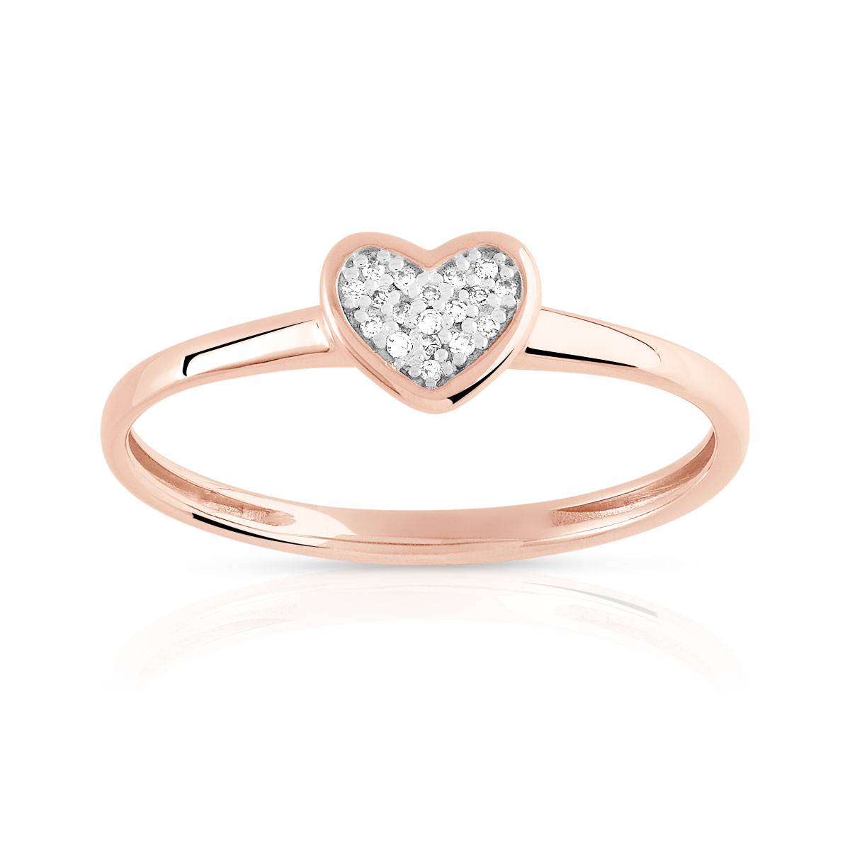 Bague or 375 rose diamant - vue V1