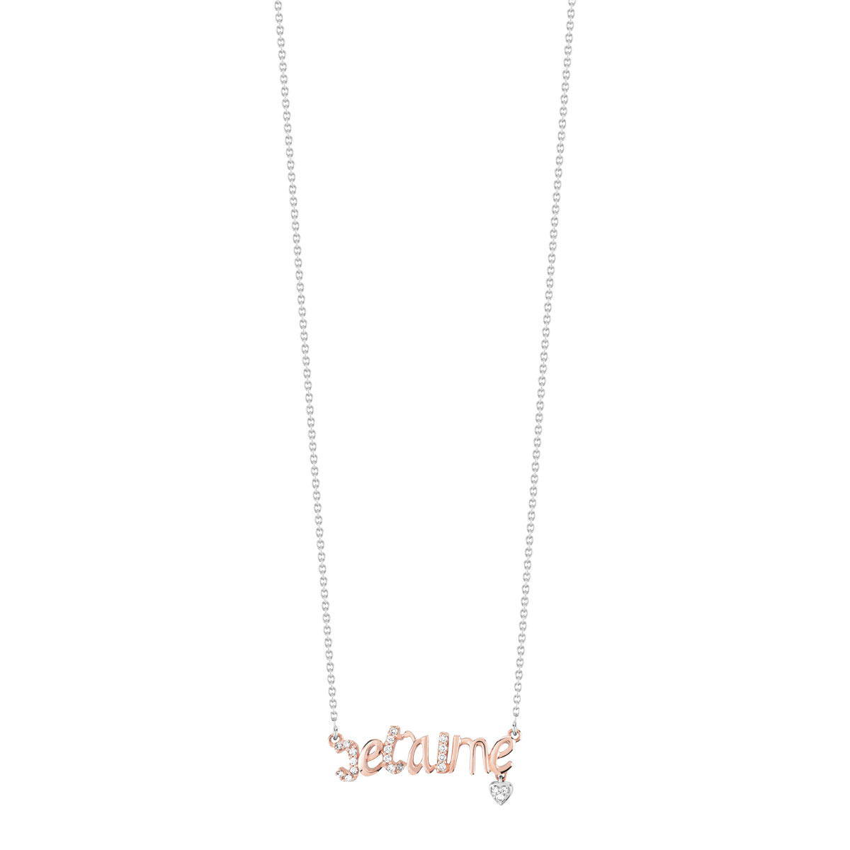 Collier 2 ors 375 diamant - vue V1
