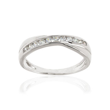 Bague or 375 blanc zirconia