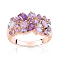 Bague or 375 rose 2 tons pierre fine