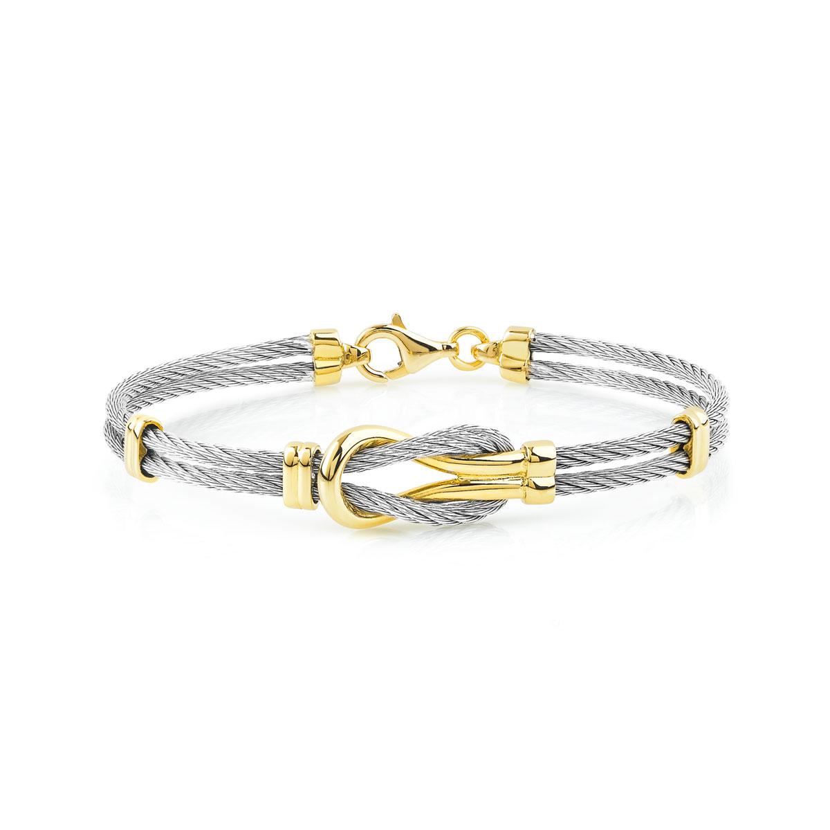Bracelet acier et or 375 jaune