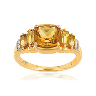Bague or 375 2 tons citrines diamants
