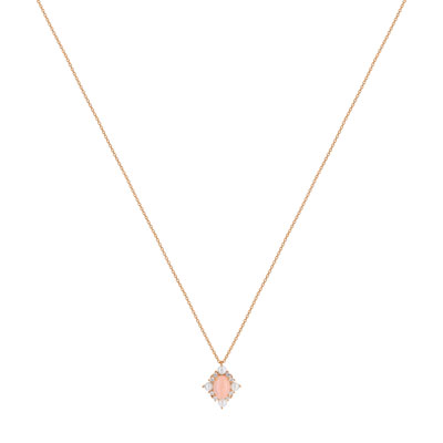 Collier or 375 rose opale zirconia et perle - vue V1