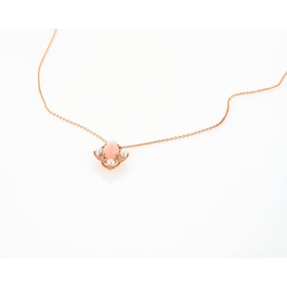 Collier or 375 rose opale zirconia et perle - vue V2