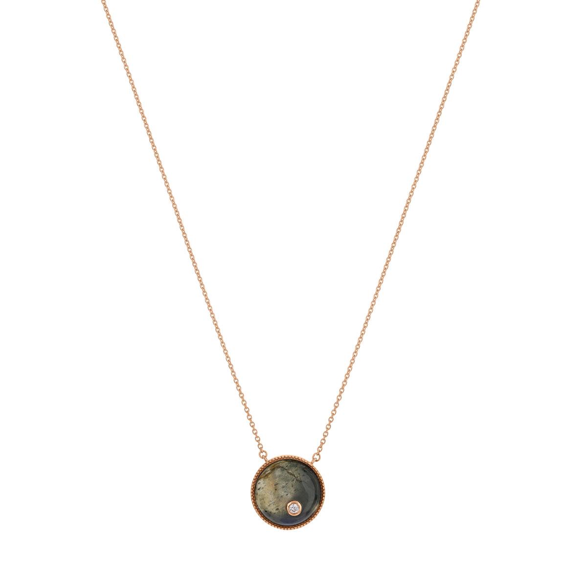 Collier or 375 rose labradorite et zirconia - vue V1