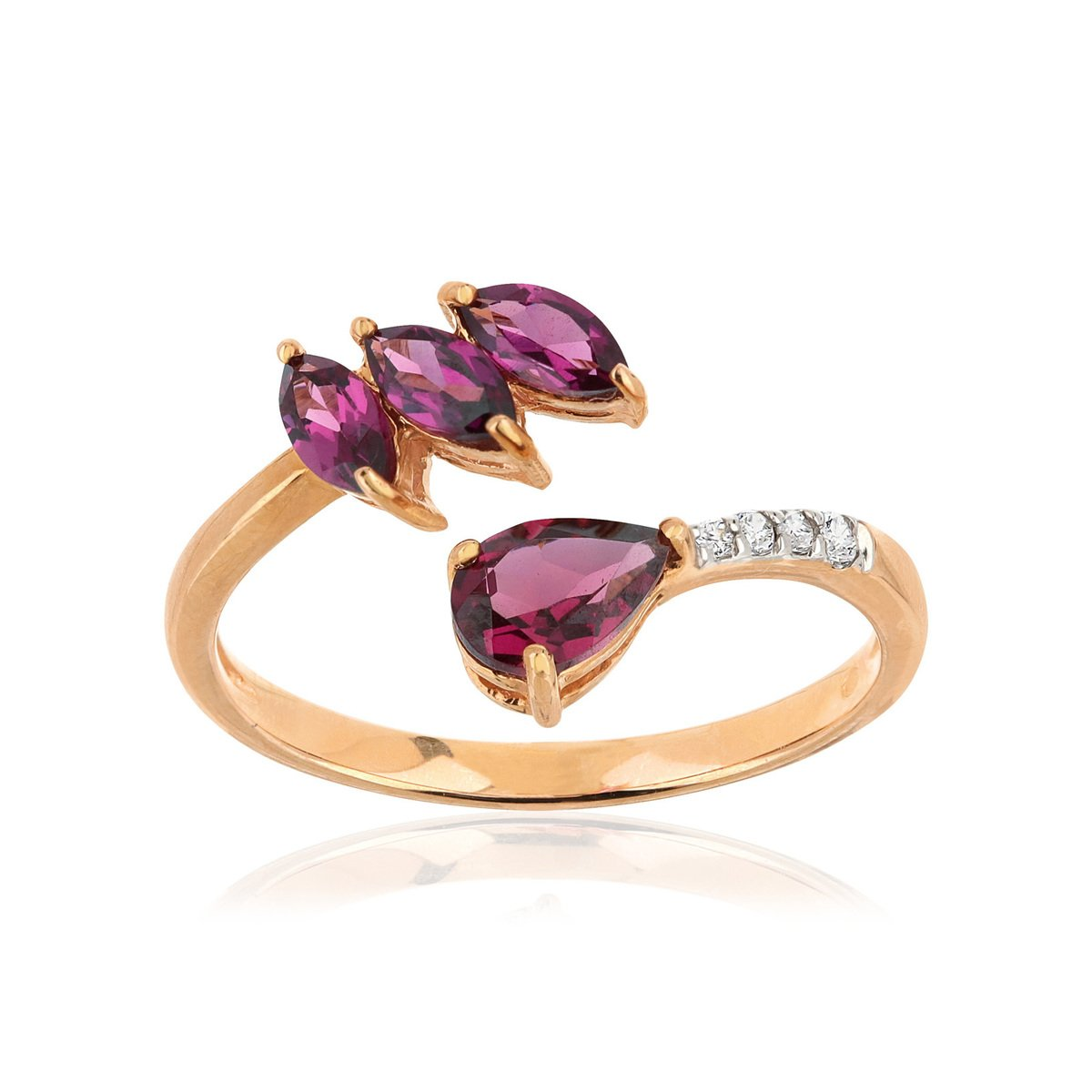 Bague or 375 rose grenat rhodolite saphir diamant - vue V1
