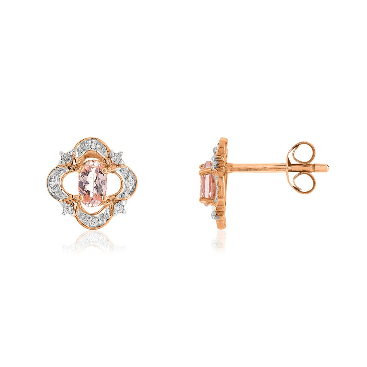 Boucles d'oreilles or 375 rose morganite diamant - vue V1