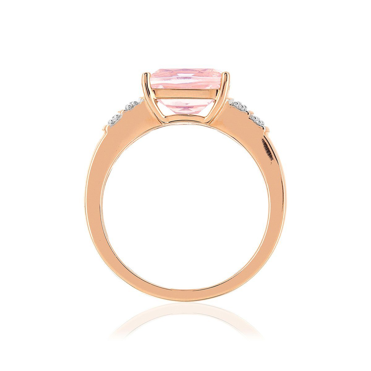 Bague or 375 rose morganite et diamant - vue V2