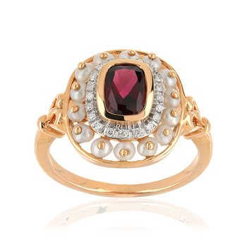 Bague or rose 375 2 tons pierre fine perle diamant - vue V1