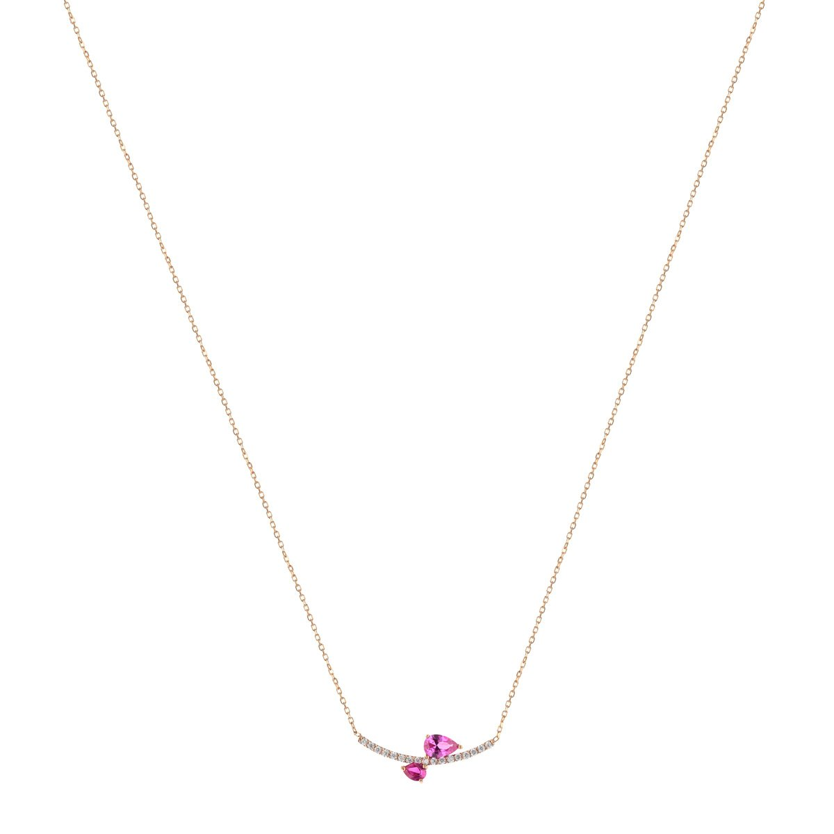 Collier or 375 rose zirconia - vue V1