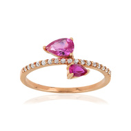 Bague or 375 rose zirconia