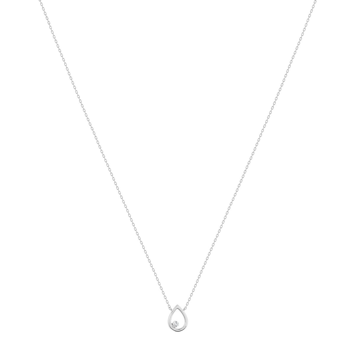 Collier or blanc 375 diamant 42 cm - vue V1