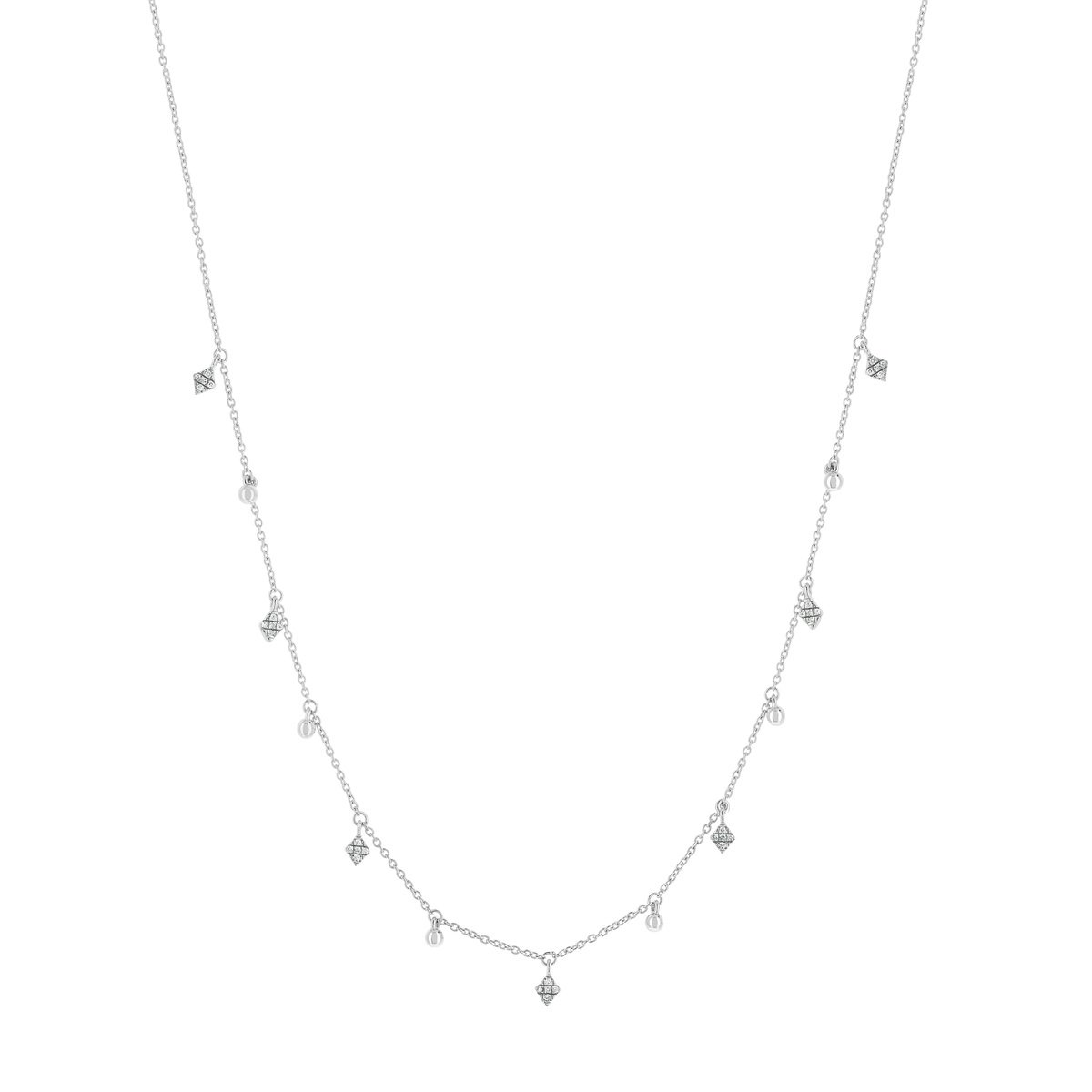Collier or blanc 375 diamants 45 cm - vue V1
