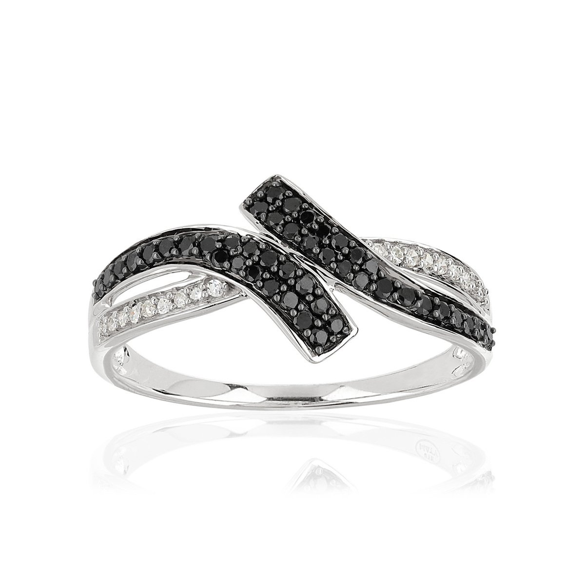 Bague or blanc 375 diamants noirs/blancs - vue 1