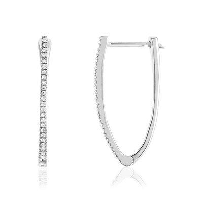 Boucles D Oreilles Or Blanc 375 Diamants Femme Brisures Et