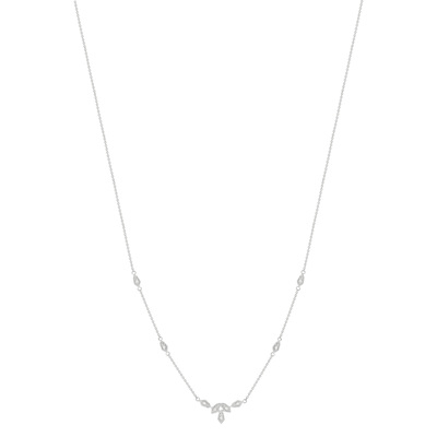 Collier or blanc 375 zirconia 45 cm - vue V1