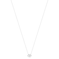 Collier or blanc 375 zirconia 43 cm