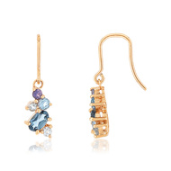 Boucles d'oreilles or rose 375 pierres fines
