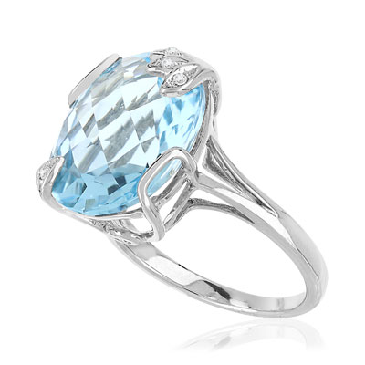Bague or blanc 375 diamants topaze - vue V3