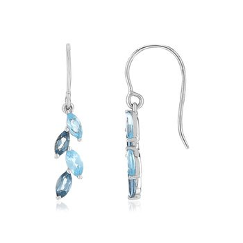 Boucles d'oreilles or blanc 375 pierres fines